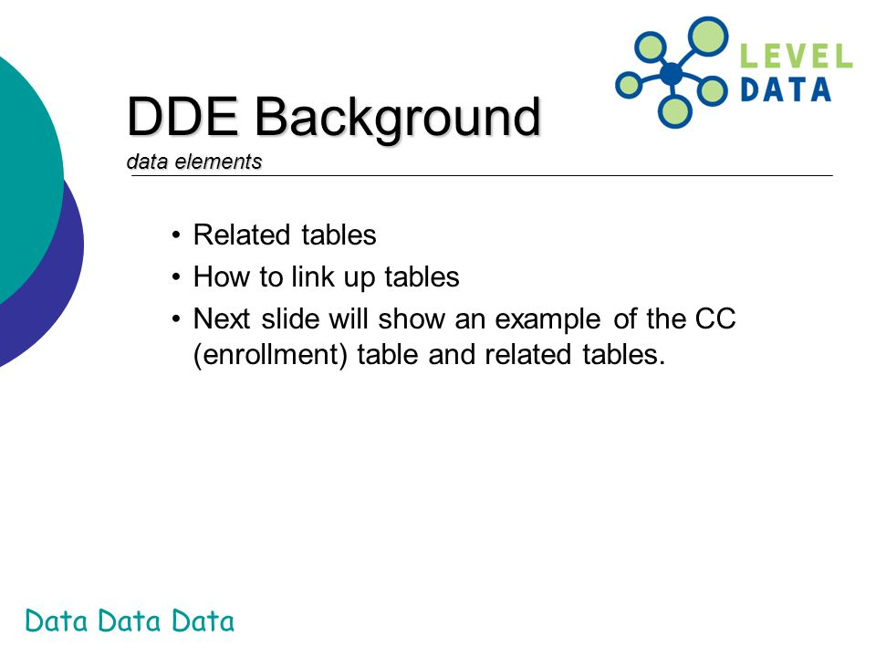 DDE Background data elements