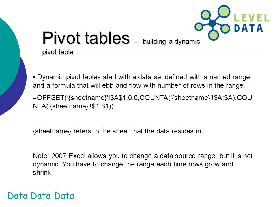 Pivot tables – building a dynamic pivot table