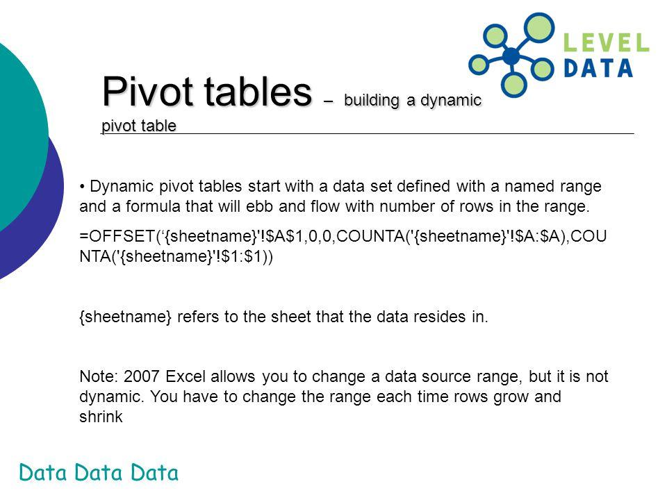 Pivot tables – building a dynamic pivot table