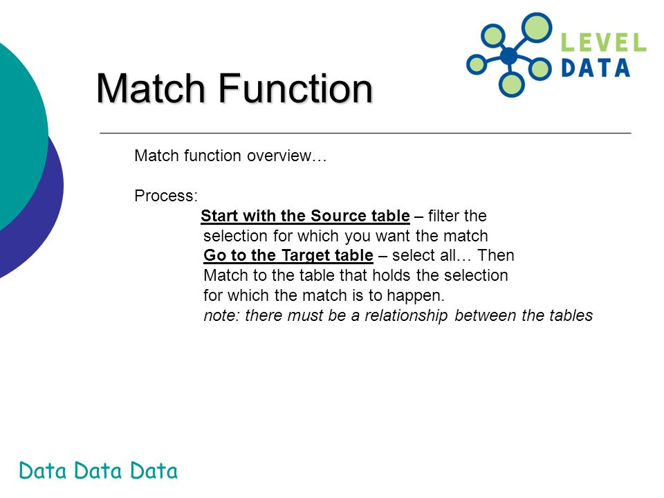 Match Function Match function overview… Process: