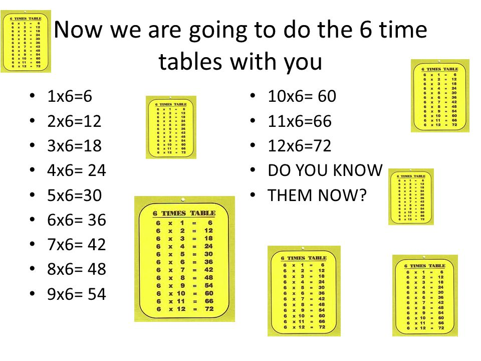 Now we are going to do the 6 time tables with you