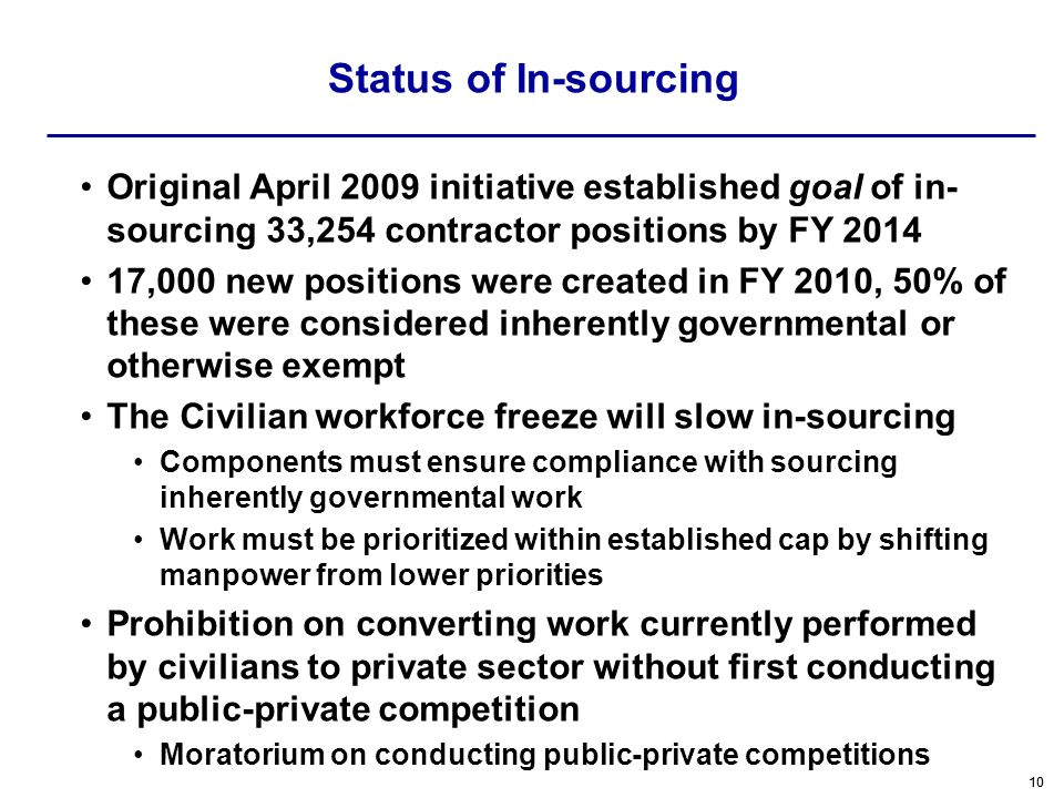 Status of In-sourcing Original April 2009 initiative established goal of in-sourcing 33,254 contractor positions by FY 2014.