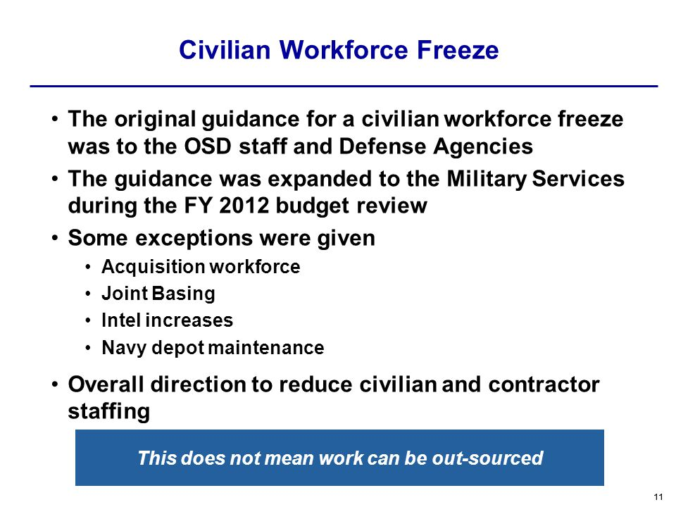 Civilian Workforce Freeze