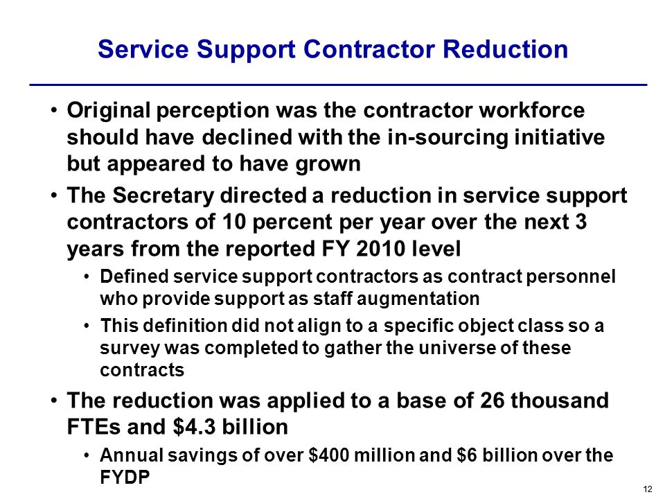 Service Support Contractor Reduction