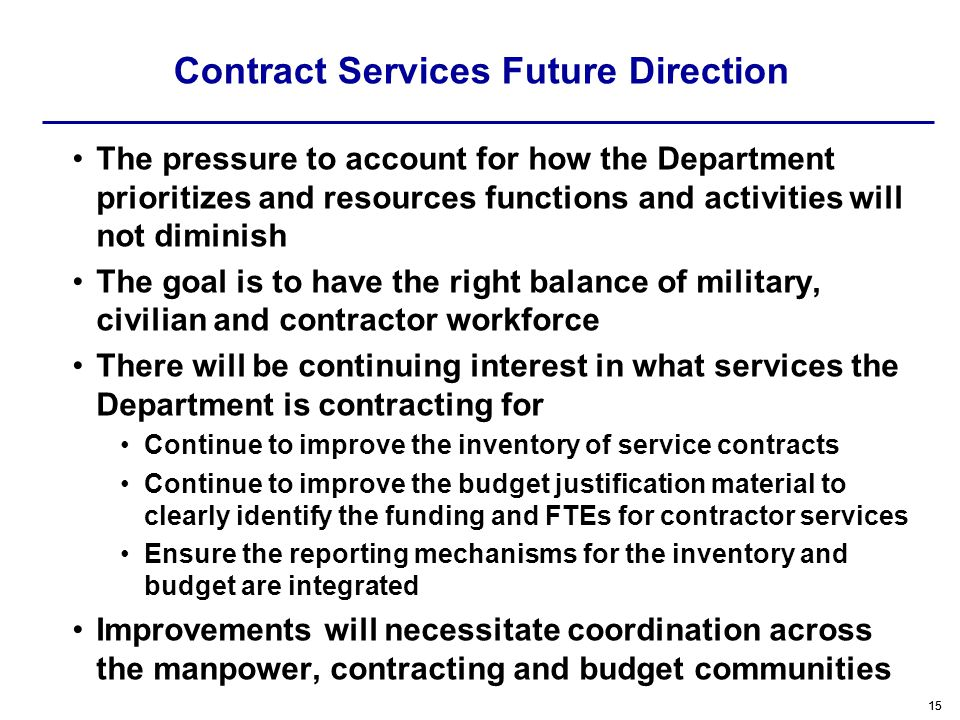 Contract Services Future Direction