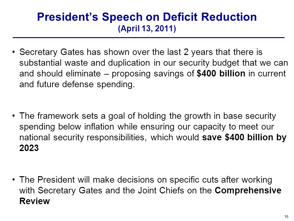 President's Speech on Deficit Reduction (April 13, 2011)