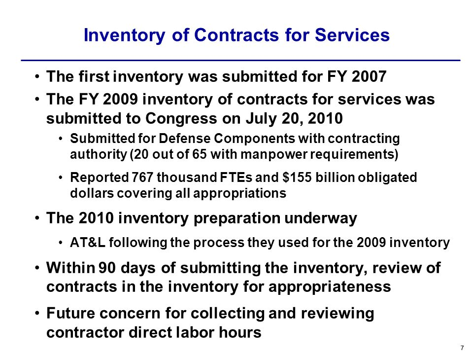 Inventory of Contracts for Services