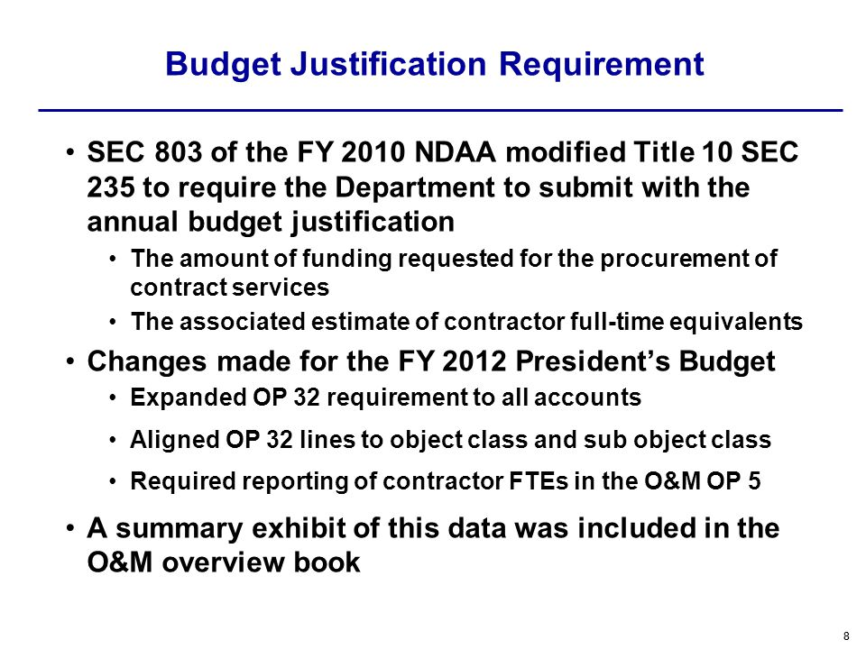 Budget Justification Requirement