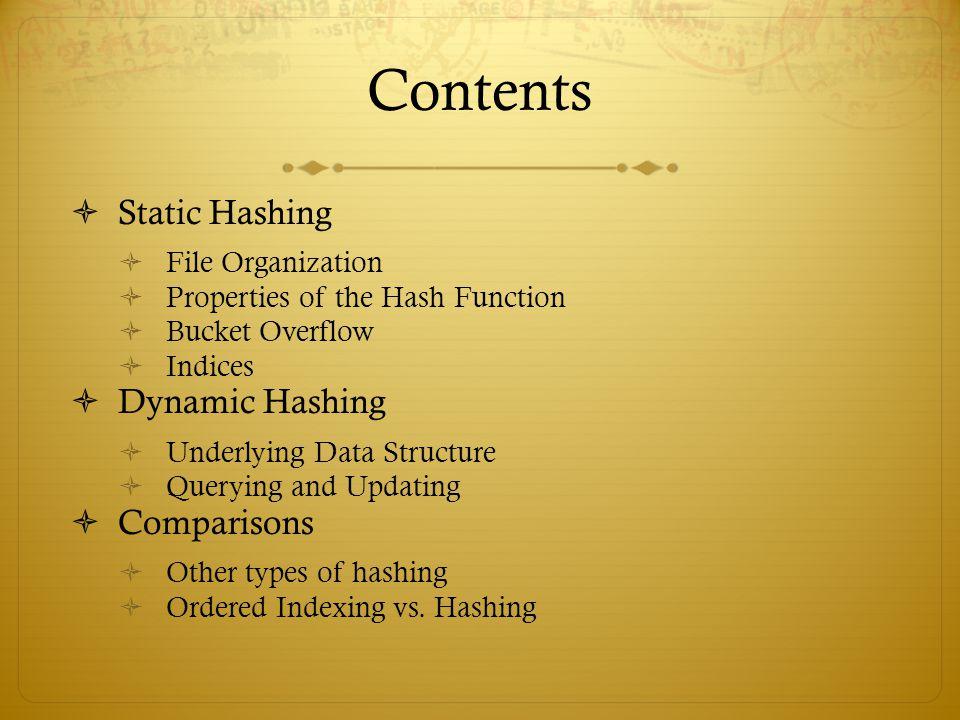 Contents Static Hashing Dynamic Hashing Comparisons File Organization