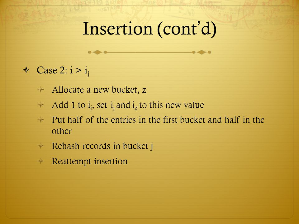 Insertion (cont'd) Case 2: i > ij Allocate a new bucket, z