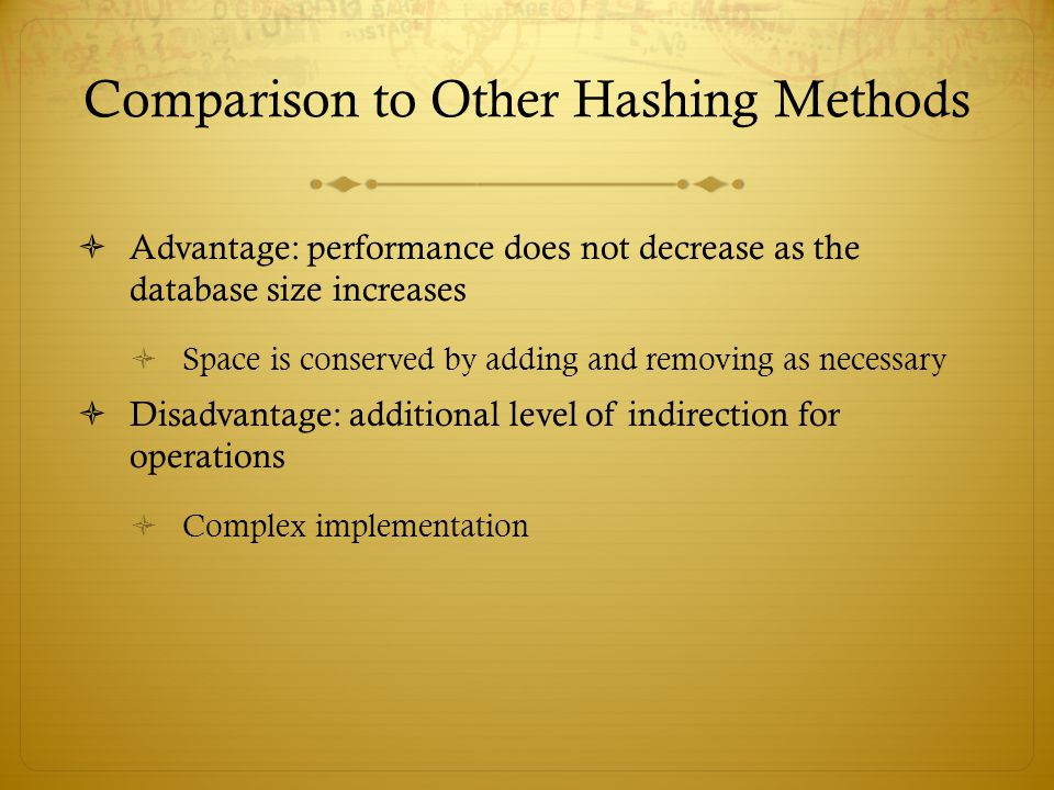 Comparison to Other Hashing Methods