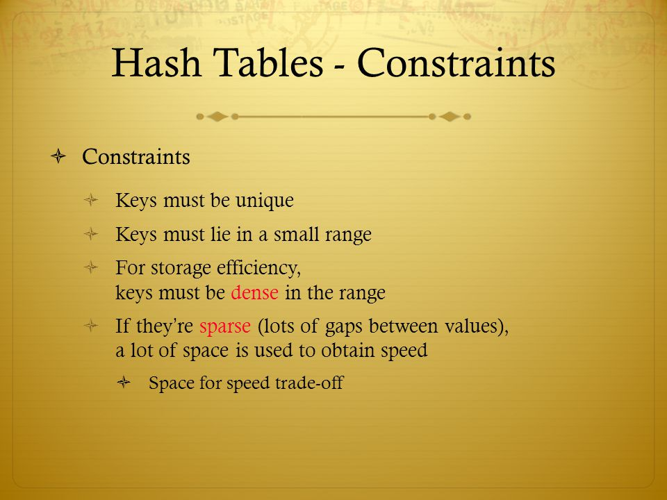 Hash Tables - Constraints