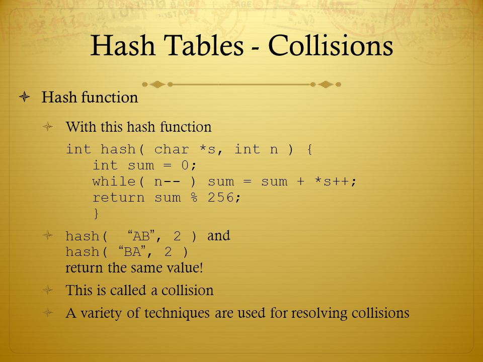 Hash Tables - Collisions