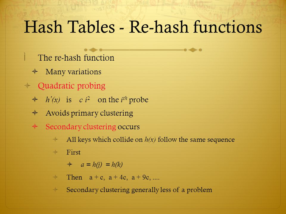 Hash Tables - Re-hash functions