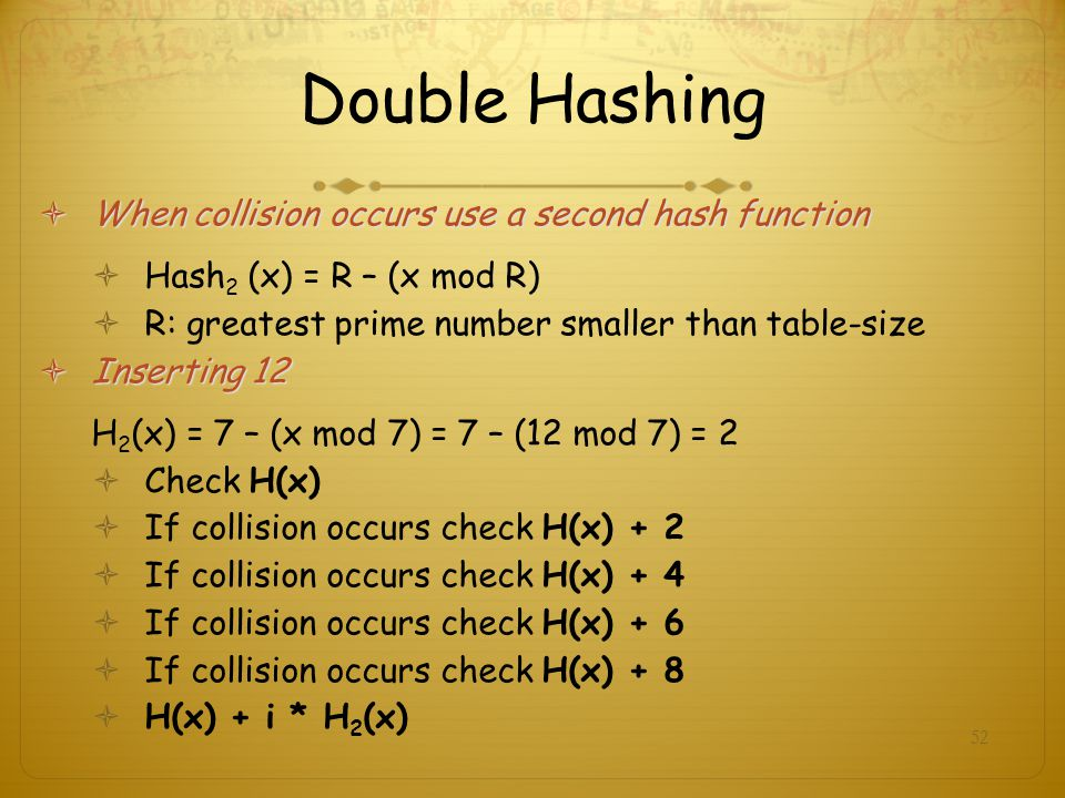 Double Hashing When collision occurs use a second hash function