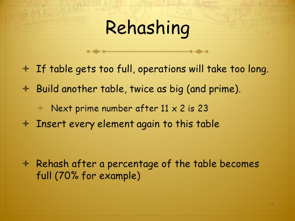 Rehashing If table gets too full, operations will take too long.