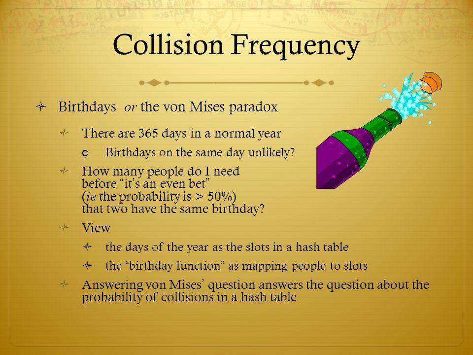 Collision Frequency Birthdays or the von Mises paradox