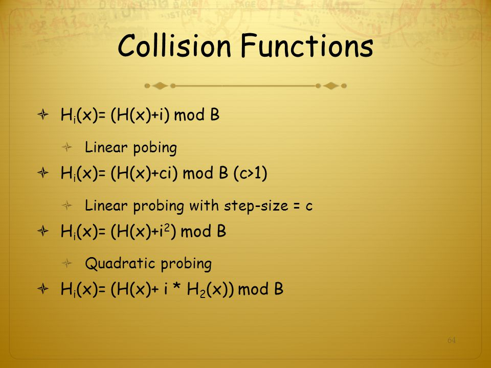Collision Functions Hi(x)= (H(x)+i) mod B