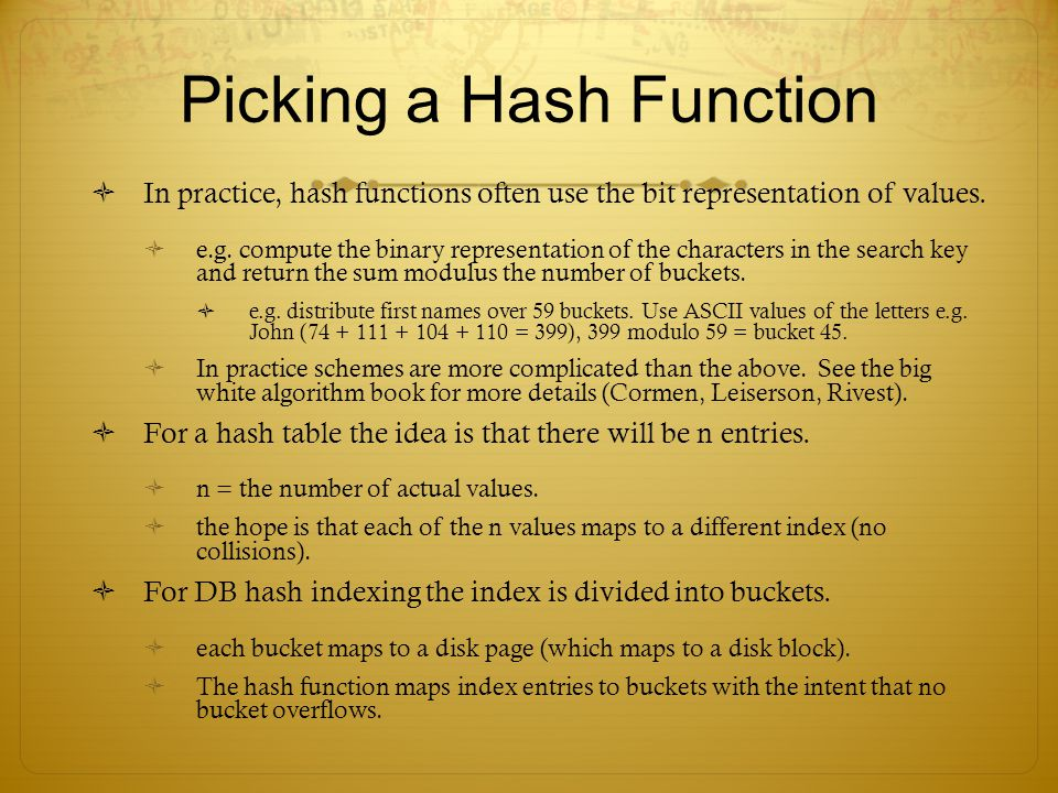 Picking a Hash Function