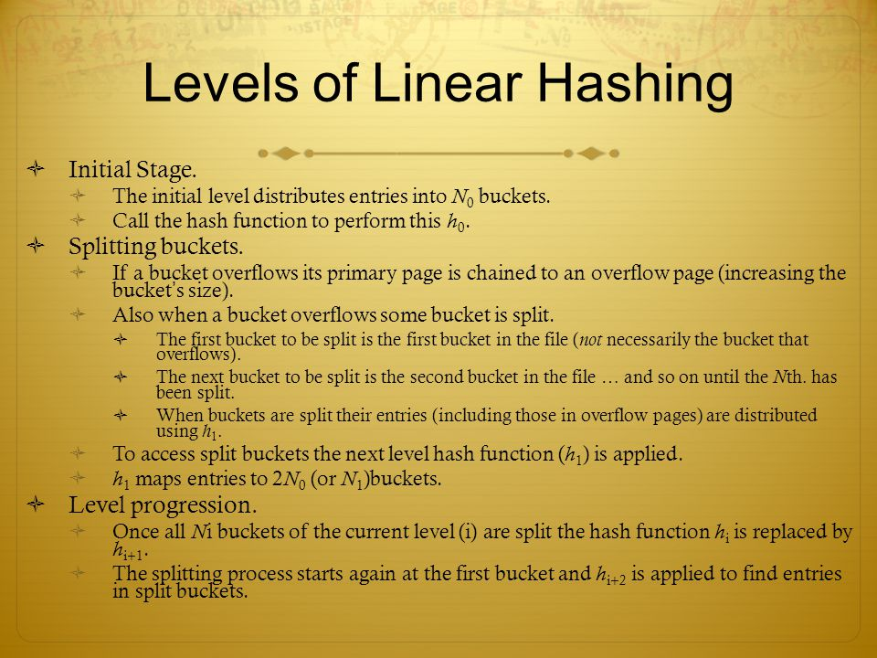 Levels of Linear Hashing