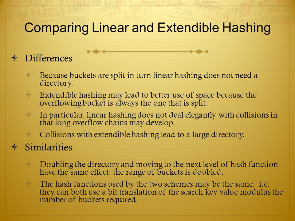 Comparing Linear and Extendible Hashing
