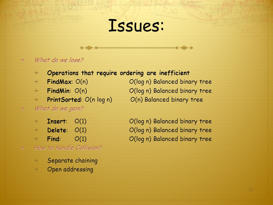 Issues: What do we lose Operations that require ordering are inefficient. FindMax: O(n) O(log n) Balanced binary tree.