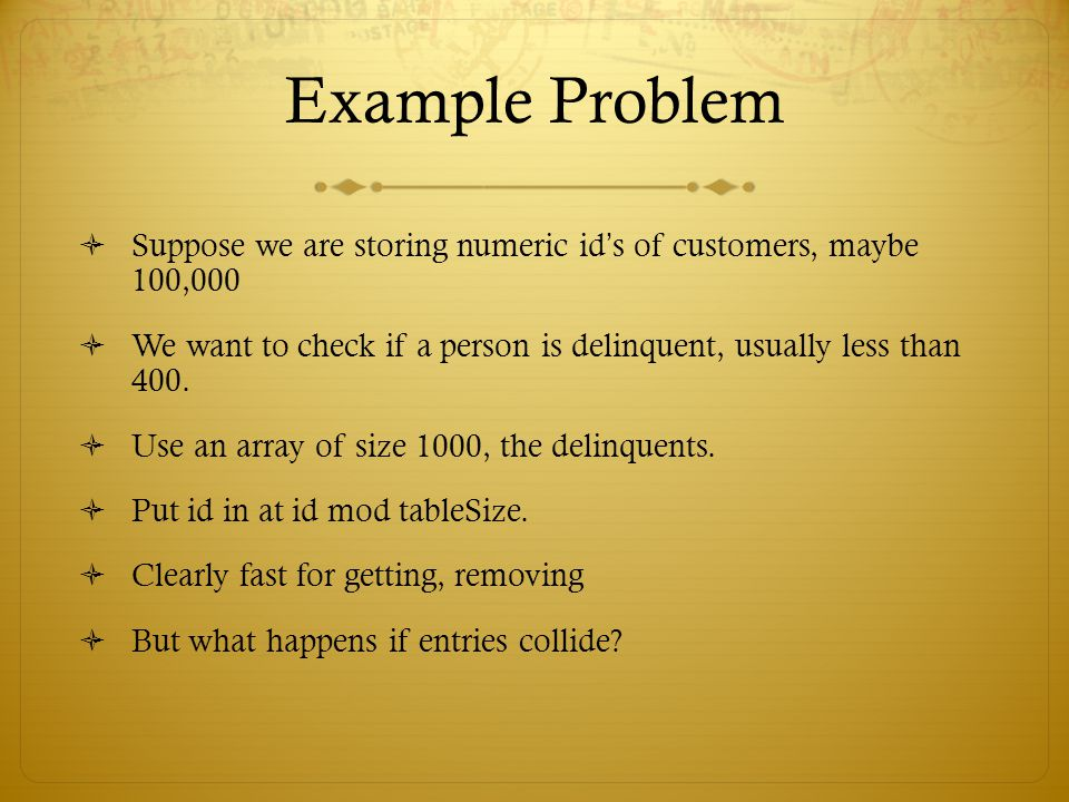Example Problem Suppose we are storing numeric id's of customers, maybe 100,000.