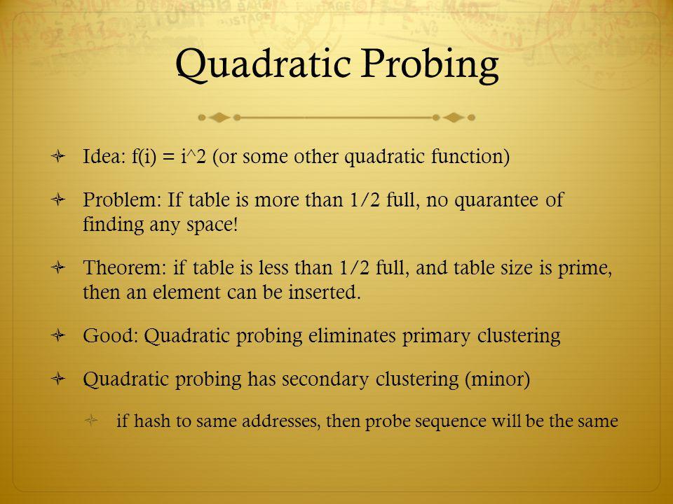 Quadratic Probing Idea: f(i) = i^2 (or some other quadratic function)