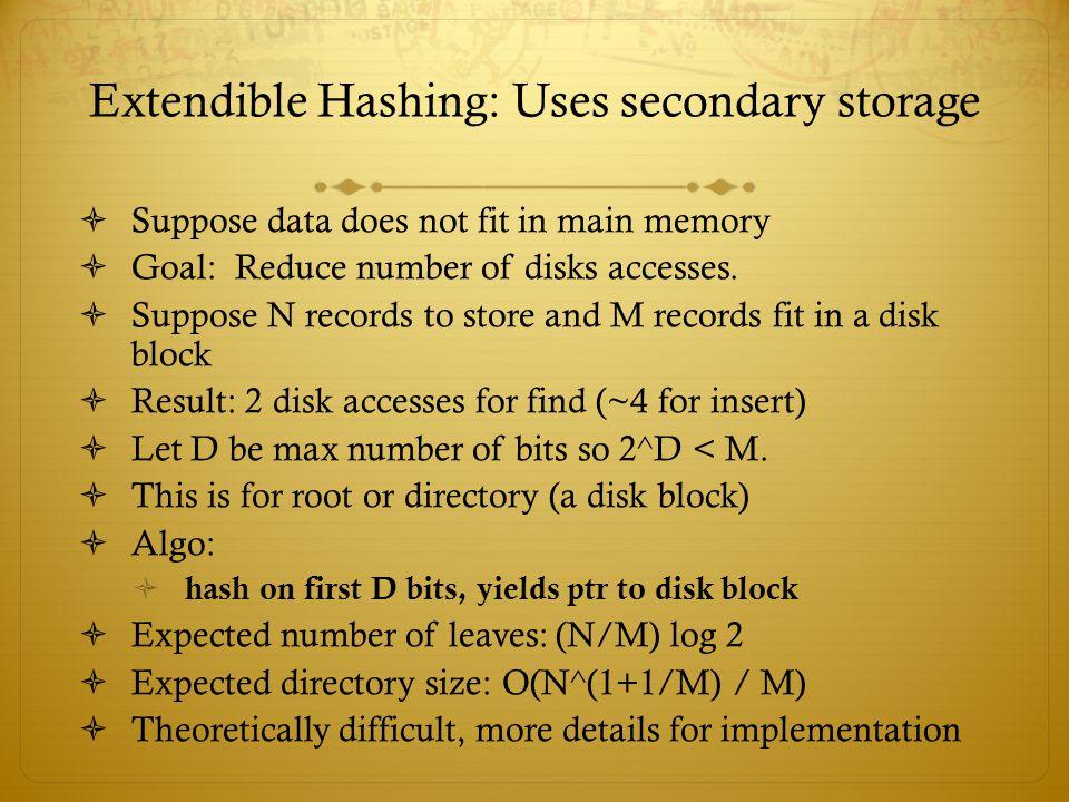 Extendible Hashing: Uses secondary storage