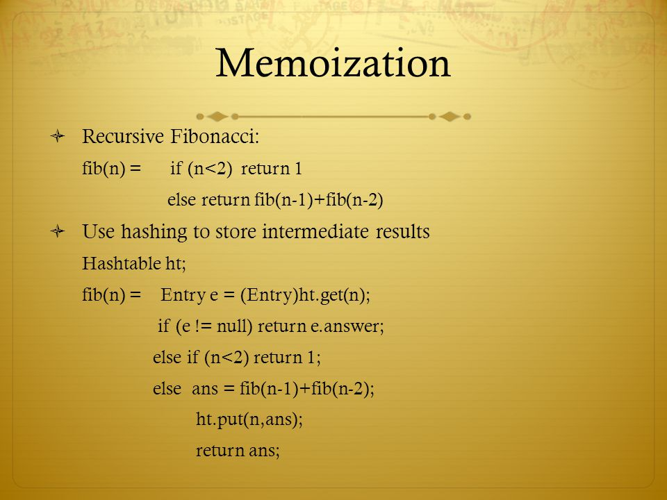 Memoization Recursive Fibonacci: