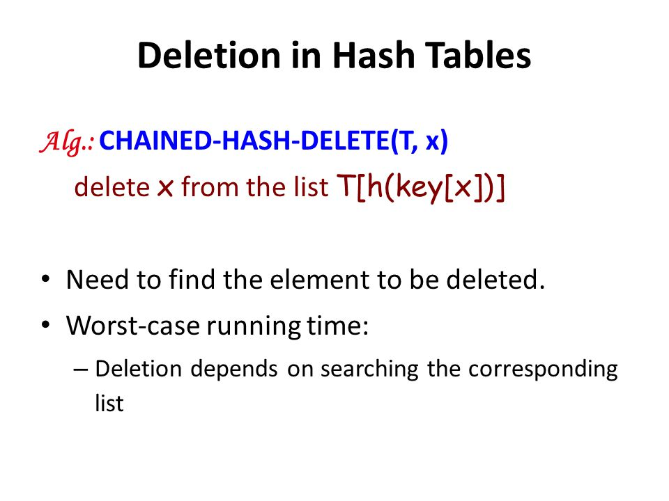 Deletion in Hash Tables