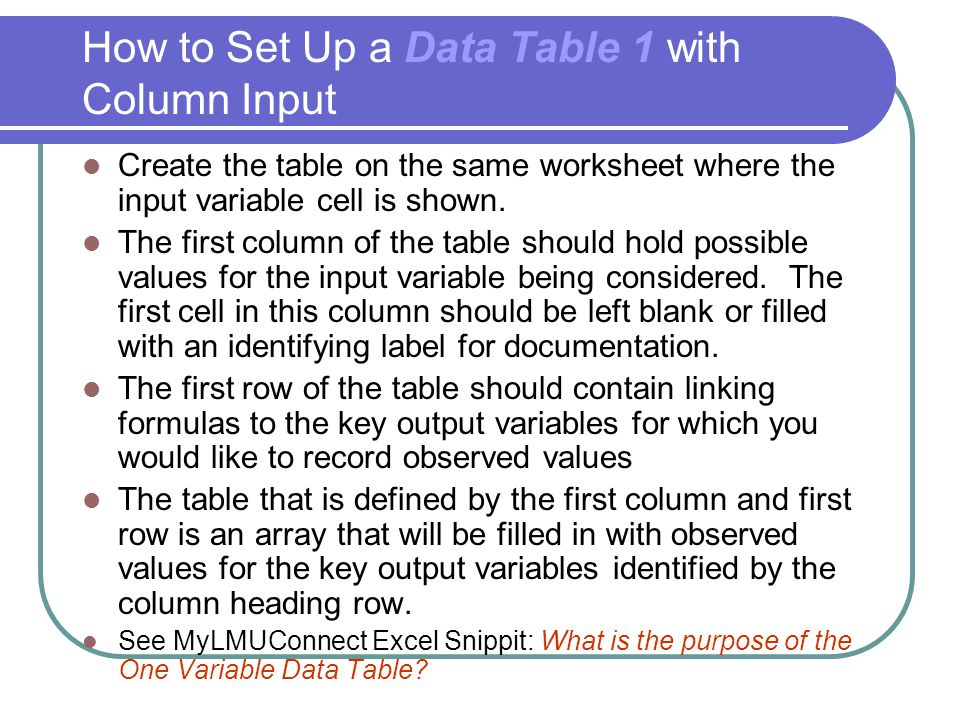 How to Set Up a Data Table 1 with Column Input
