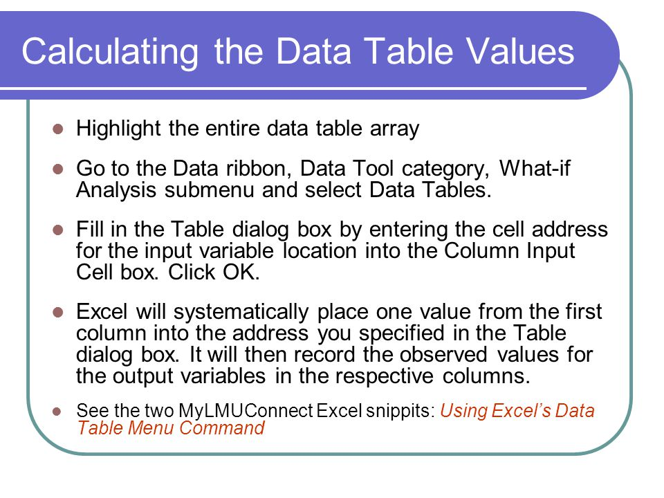 Calculating the Data Table Values