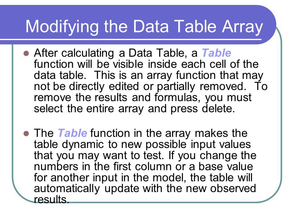 Modifying the Data Table Array