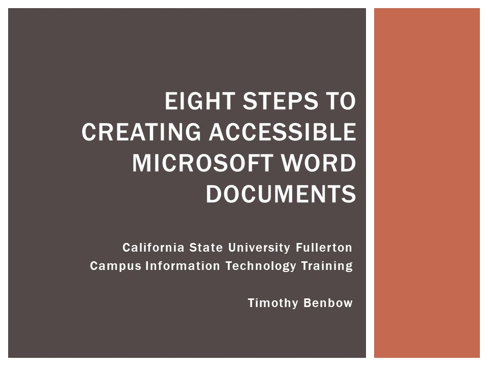 Eight Steps To Creating Accessible Microsoft Word Documents
