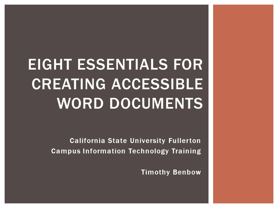 Eight Essentials for Creating Accessible Word Documents