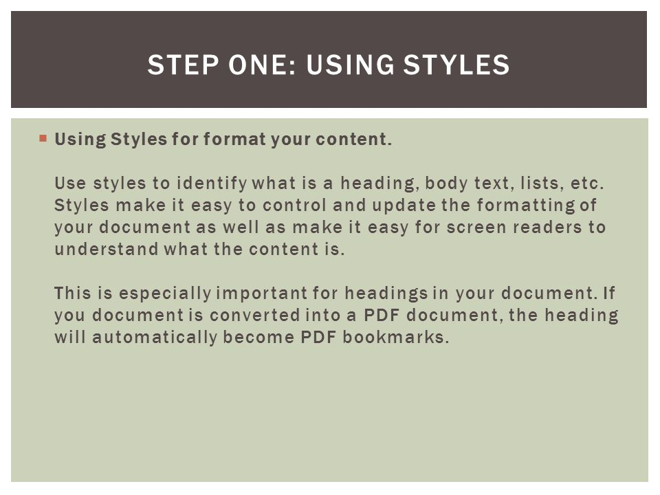 Step One: Using Styles