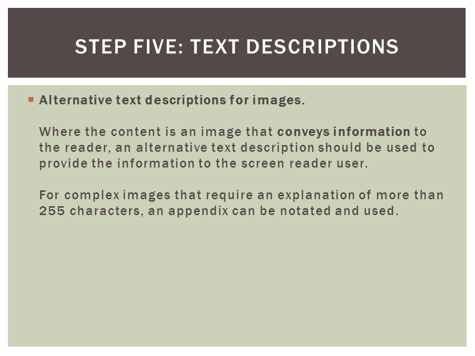 Step Five: Text Descriptions