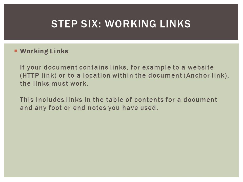 Step Six: Working Links