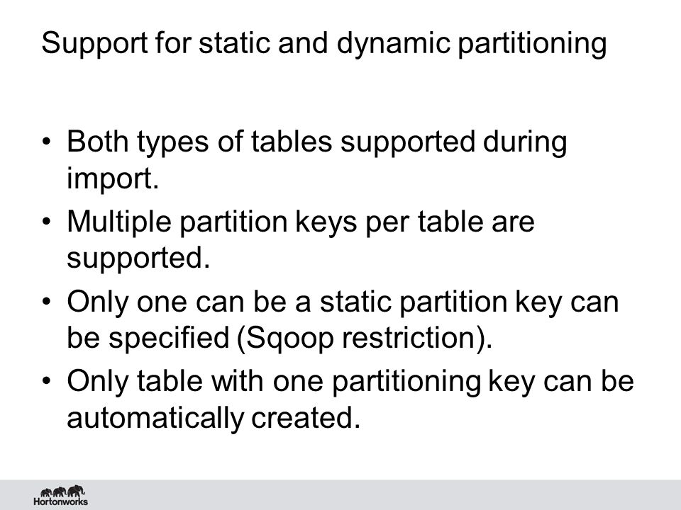 Support for static and dynamic partitioning
