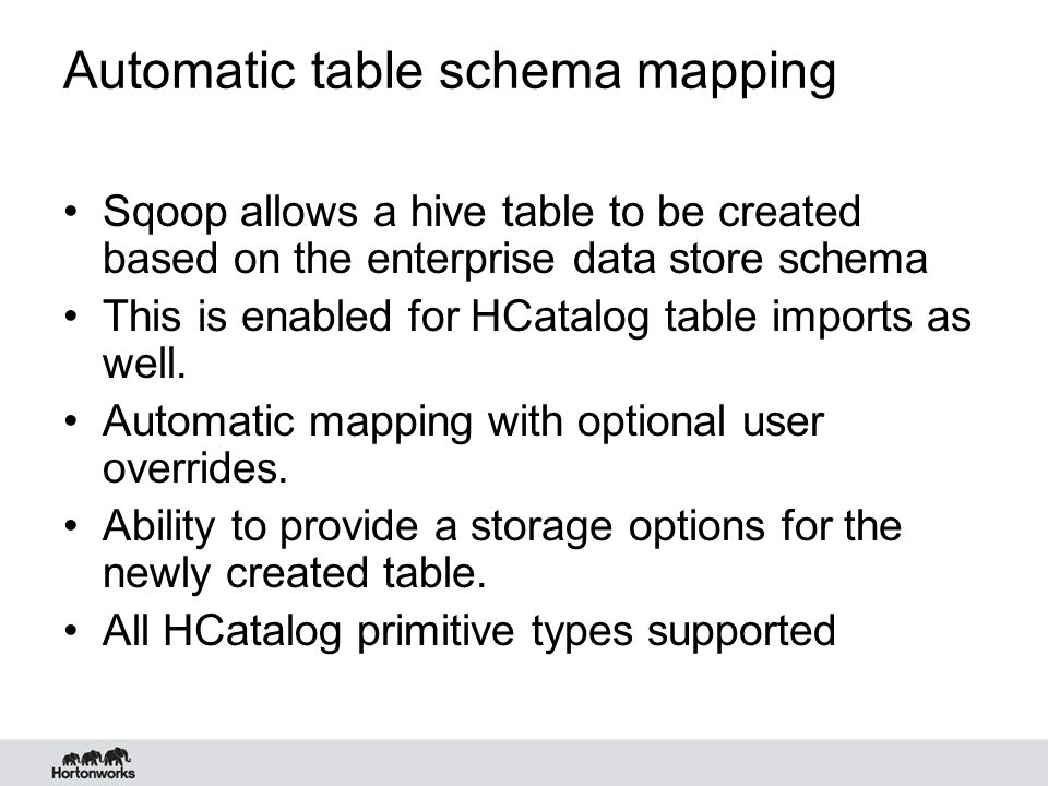 Automatic table schema mapping