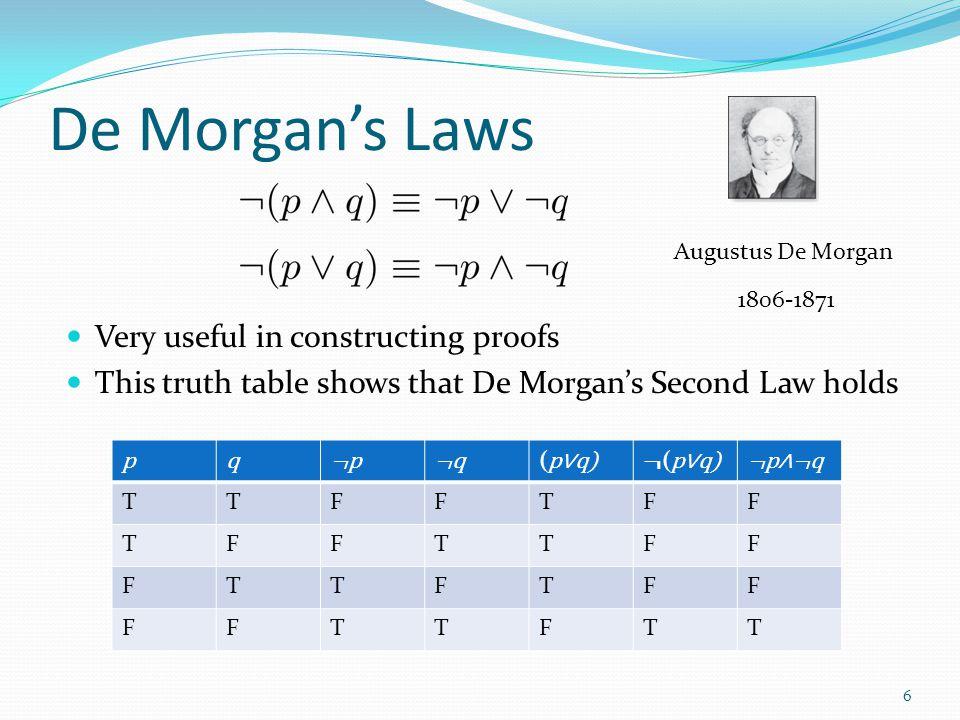 De Morgan's Laws Very useful in constructing proofs
