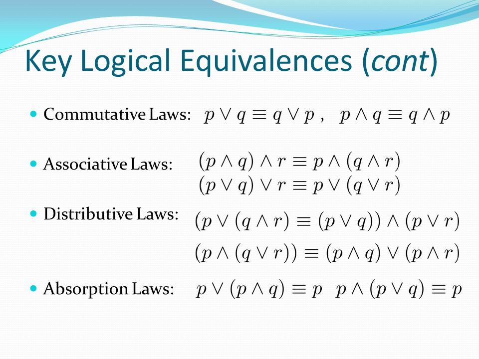 Key Logical Equivalences (cont)