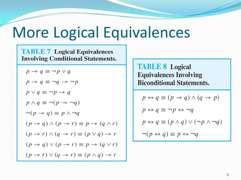More Logical Equivalences