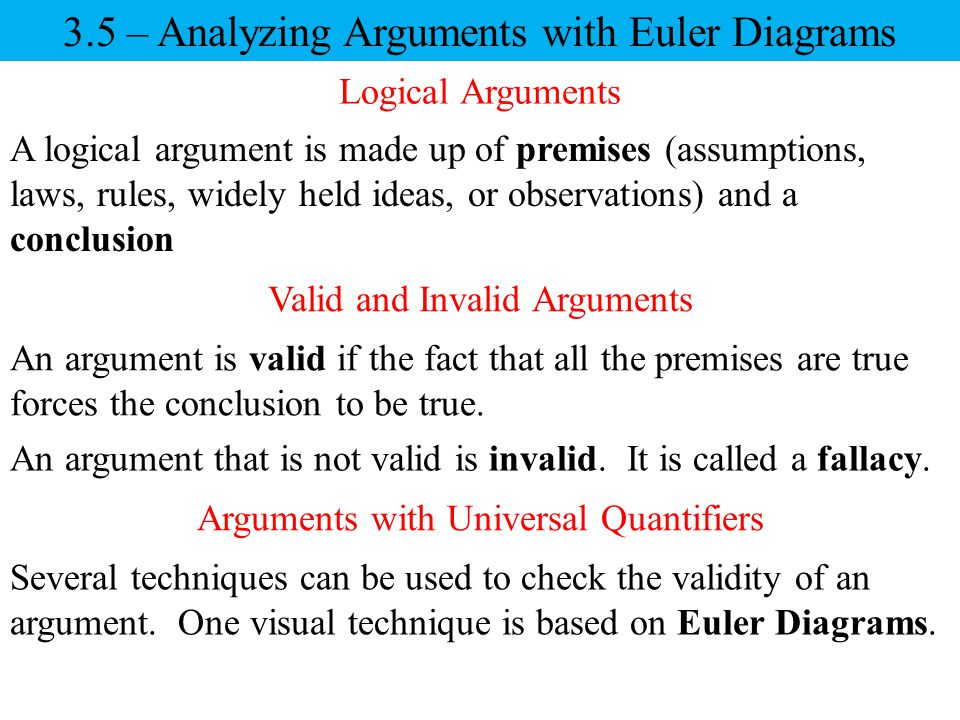 3.5 – Analyzing Arguments with Euler Diagrams