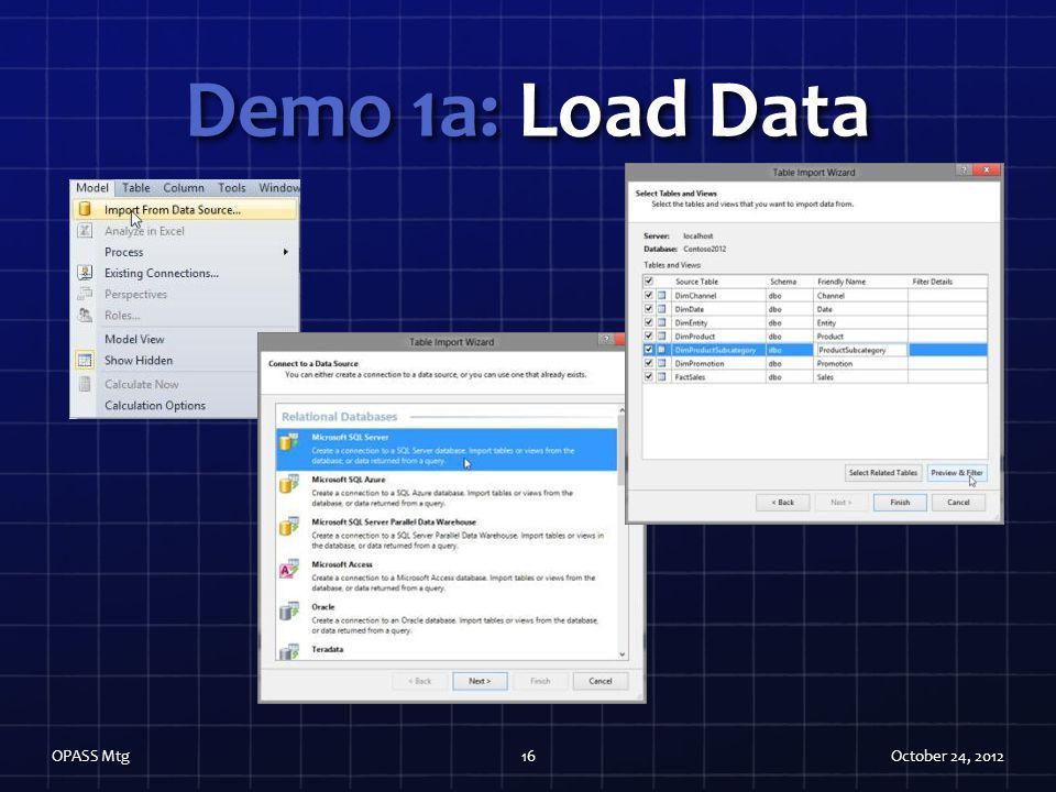 Demo 1a: Load Data OPASS Mtg October 24, 2012