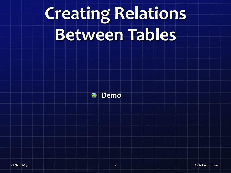 Creating Relations Between Tables