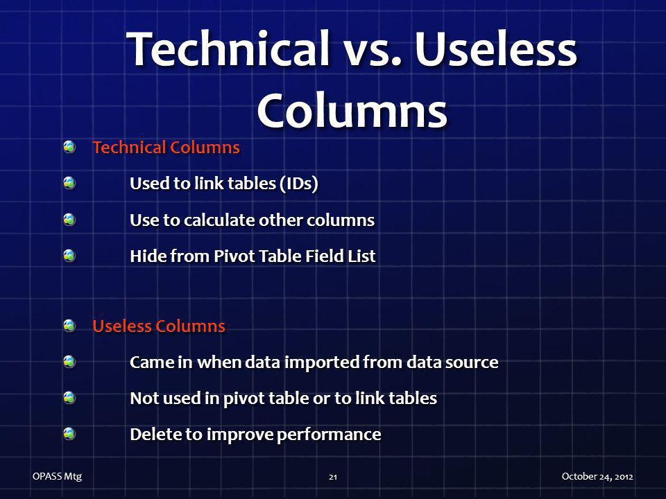 Technical vs. Useless Columns