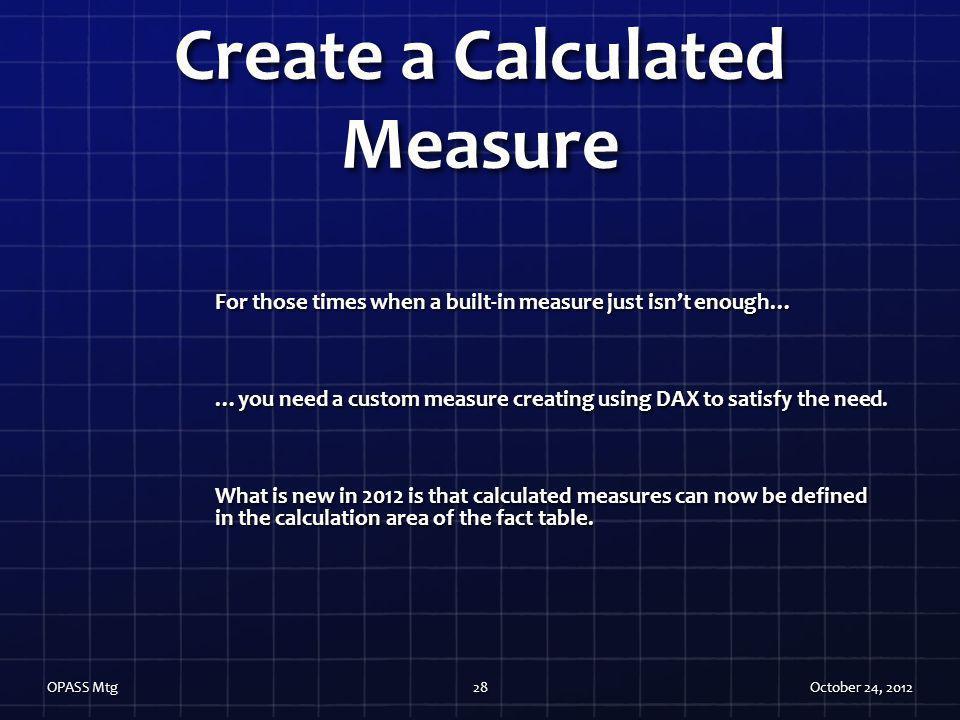 Create a Calculated Measure