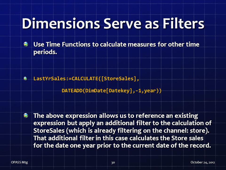 Dimensions Serve as Filters